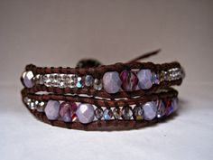 Beaded Leather Wrap Bracelet Boho Glam by CristinaDavisJewelry, $30.00