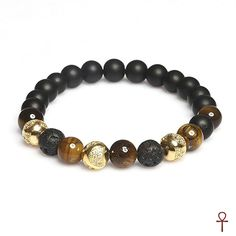 Exclusive Beaded Tiger's Eye Onyx Gold Bracelet #black #brown #gemstone #gold #lava #men #onyx #silver #tigerseye #menstyle #bracelet