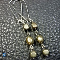♥ Elegant Boho Pyrite Stone Nuggets  & Plated Silver Earrings