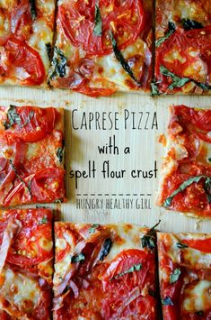 Caprese Pizza on a Spelt Flour Pizza Crust - light and easy summer flavors in this delicious healthy pizza! Healthy Pizza, Healthy Dinner Recipes, Healthy Eating, Cooking Recipes, Healthy Gourmet, Clean Eating, Healthy Foods, Chapati, Spelt Recipes