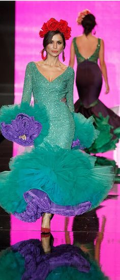 Cristina García, Simof 2014 Pierre Turquoise, Fiesta Colors, Evening Dresses, Formal Dresses, Belly Dance, Flamenco Dresses, One Piece, Costumes, Beauty