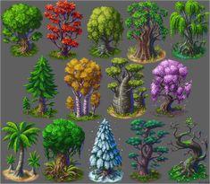 "Vierbit no Twitter: ""A few #pixelart trees.… "" . Fantasy Landscape, Landscape Art, Fantasy Art, Concept Art Tutorial, Alien Concept Art, Pixel Art Games, Nature Sketch, Sprites, Environment Concept Art"