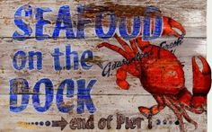 Seafood on the Dock - Vintage Beach Sign