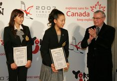 Sisters Mai and Mao Asada here were being given handshakes and applause by Canadian Ambassador to Japan - Hon. Joseph Caron, after both the Sisters were appointed as Japan's Ambassador of Goodwill to Canada.  Held at a Hotel in Tokyo, 6th of April, 2007. ・ Photo by: 米田堅持