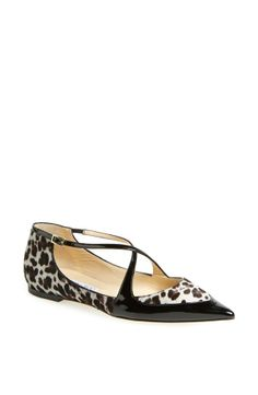 Jimmy Choo 'Gamble' Pointy Toe Calf Hair Flat