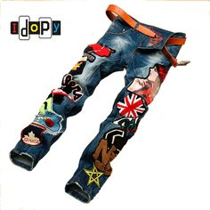 >> Click to Buy << Personality Embroidery Beauty Badge Patch Jeans Mens Ripped Jeans Fashion Brand Biker Jeans Hip Hop Denim Casual Pants For Men #Affiliate