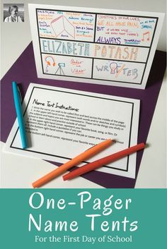 First Day of School: Want to learn your students names quickly and easily? Want to build connections with them that will last? Take a few minutes to do this fun one-pager name tent activity, and you will have a handy way to memorize students names, rotate Middle School Ela, Middle School Classroom, 1st Day Of School, English Classroom, Beginning Of The School Year, English Teachers, Get To Know You Activities, First Day Of School Activities, Name Tent