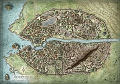 """A poster sized city map created for the D&D game supplement """"Neverwinter Campaign Setting"""". © 2011 Wizards of the Coast"""