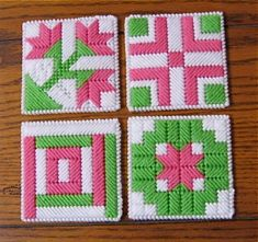 Quilt Block Coasters  Pink Green White  Set of 4 by NanaLetha