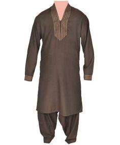 Junoon Collar Fashion Brown Men Kurta Shalwar in Pakistan