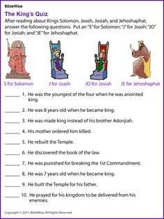 King's Quiz (Solomon, Joash, Josiah, Jehoshaphat)- Kids Korner - BibleWise Bible Stories For Kids, Bible Story Crafts, Bible Lessons For Kids, Bible For Kids, Emmanuel Bible, Bible Games, Bible Activities, School Quiz, Sunday School Lessons