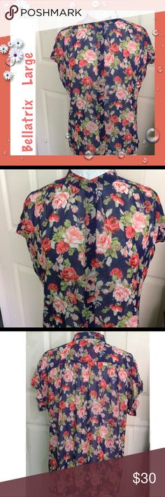 """Bellatrix / Sheer Floral Blouse Short Sleeve Large Bellatrix / Sheer Floral Button Front Blouse / Short Sleeve / Size Large /  Approx Measurements: Bust 50"""" Length 25"""" / 100% polyester /Gorgeous Navy Blue Print!  Please feel free to make an offer - Enjoy BIG discounts on bundles & save $$$ on shipping! I package safely & ship fast.  TY & Happy Poshing! 💜💜💜 E1 Bellatrix Tops Blouses"""