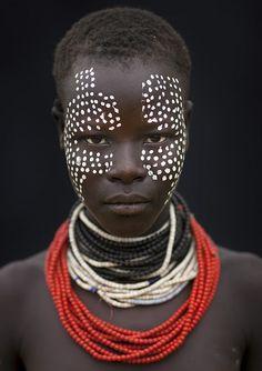 Beautiful tribal face paint.