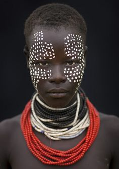 Beautiful tribal face paint.