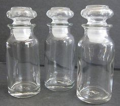 Glass Apothecary Jars Spice Containers Herb Storage Glass Jars Lids SEALED Set 3 | eBay  sc 1 st  Pinterest : herb storage containers  - Aquiesqueretaro.Com