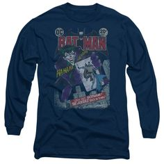 Batman/#251 Distressed Long Sleeve Adult T-Shirt 18/1 in Navy