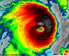 This infrared imagery from NASA shows the severeity of tropical Cyclone Marcia as it tears towards the Queensland coast on Friday (2015)