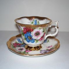 Royal Albert Anemones Tea Cup and Saucer
