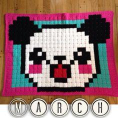 Pandamonium pixel crochet blanket by leehaa