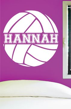 Custom Volleyball Wall Decal, 0058, Personalized Volleyball Wall Decal, Volleyball Theme Wall Decal, Girls Room Vinyl Lettering, Custom Name Volleyball Signs, Volleyball Room, Volleyball Posters, Volleyball Crafts, Volleyball Ideas, Softball, Sports Wall Decals, Vinyl Wall Decals, College Gameday Signs