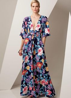 Inspired to make a maxi dress from the from episode 3 of The Great British Sewing Bee - Vogue 9253 Kimono Style Dress, Kimono Fashion, Fashion Dresses, Vogue Dresses, Fashion Fashion, Women's Dresses, Vogue Sewing Patterns, Vintage Sewing Patterns, Pattern Sewing