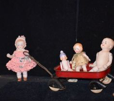 Antique Doll Dolls All Bisque Miniature In Old Metal Wagon Dollhouse