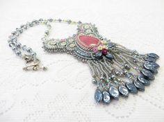 Bead Embroidery Rhodocrosite Crystal Gray by KayhandaJewelry