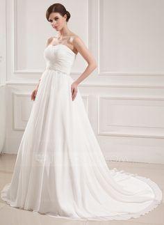 Ball-Gown Sweetheart Court Train Chiffon Wedding Dress With Ruffle Beading (002019533)