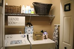 baskets for storage in the laundry closet (note to self: change door knobs!)http://pinterest.com/pin/50313720806507762/#
