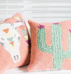 Cactus and steer skull pillows Crochet Craft Fair, Crochet Crafts, Fair Projects, Craft Projects, Skull Pillow, Craft Fairs, My Room, Sweet Home, Throw Pillows
