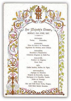 Jubilee Dinner menu for Queen Victoria