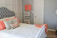 Grey walls and pink/peach accents