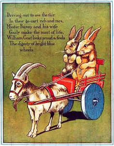 Bunnies Riding In  A Cart Vintage by DandDDigitalDelights on Etsy