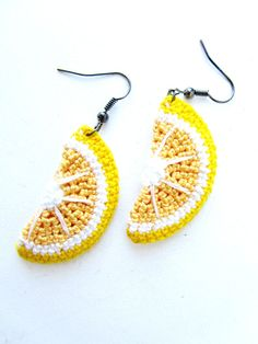 Lemon Crochet Earrings  Lemon Earrings  Fruit by AlenaZstyle, $19.99