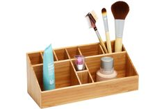 Small dorm room? No problem! Keep your beauty products super organized with our eco-friendly Bamboo Makeup Organizer. | Seventeen