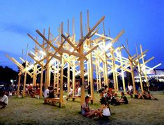 The Sziget Festival, one of Europe's largest music festivals held in Budapest, makes art a major focus as shown with TREEDOM, a giant geometric wood forest installation. Design workshop Atelier YokYok created the temporary installation over the course of nine days and then dismounted it in two days after the end of the weeklong festival.