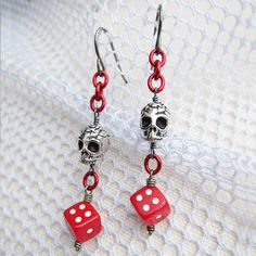 Boon of Power, red D6 skull earrings by Mortivoreium