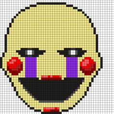 "Marionette ""The Puppet"" FNAF Perler Bead Pattern...use white though instead of yellow"