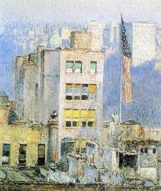 """""""The Flag, Fifth Avenue,"""" Frederick Childe Hassam, 1918, oil on canvas, 32.75 x 27.25"""", private collection."""