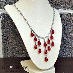 red crystal teardrop necklace-red crystal waterfall necklace-cascading necklace-red crystal statement necklace-red necklaces-silver