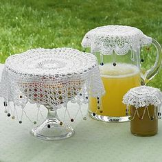 £9.99 3 Crochet Jug Covers  Charming cotton crochet food covers ideal for outdoor entertaining and recalling Victorian originals.