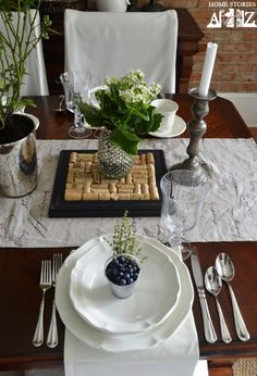 Mikasa French Countryside dinnerware, flatware, and glassware // 1 + 1 =3 on Home Stories A to Z