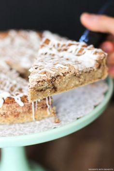 Healthy Coffee Cake -- a fluffy and moist vanilla cake with a cinnamon-sugar layer hidden inside and a delicious crumble on top.  So sweet and addicting and delicious, it's seriously hard to believe it's refined sugar free, low fat, high protein, high fiber and gluten free!