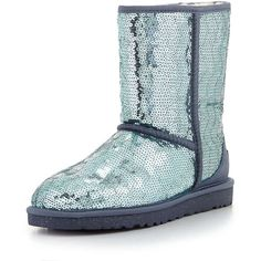 UGG Australia Sparkles Sequin Short Boot ($190) ❤ liked on Polyvore featuring shoes, boots, ankle booties, uggs, ankle boots, dolphin blue, sequin ankle boots, ugg australia boots, sequin boots and sparkly ankle boots