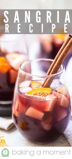 Easy Sangria Recipe: Perfect balance of fruit, wine, brandy & spices. So authentic & delicious all-year round! #sangria #recipes #recipeseasy #fall #recipesred #redwine #red #summer #apple #recipeseasyred #4thofjuly #easy #halloween #howtomake #homemade #autumn #fourthofjuly #christmas #camping #thanksgiving #spanish #best #sparkling #recipeseasyredsweet #summerredwine #diy #foracrowd #simple #bakingamoment Sangria Recipes, Drink Recipes, My Recipes, Baking Recipes, Spanish Red Wine, Frozen Sangria, How To Make Sangria, Lime Soda, Lemon Lime