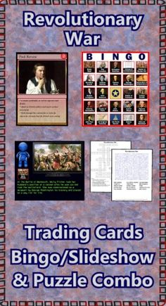 This Revolutionary War combo pack contains the deck of 54 trading cards, the Bingo/Slideshow (PC & Mac) software with 40 bingo cards, two crossword puzzles and two word searches.  Bonus features include additional games, directions for making trading cards, and instructions to make your PowerPoints talk. ($)