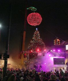 Cherry Ball Drop in Traverse City, Michigan. Traverse CIty is the Cherry Capitol of the World.