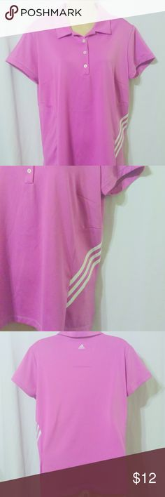 """Women's Adidas Climacool Pink Golf Polo Shirt This women's Adida's Climacool polo top is done in a hot pink and is a size large. It is done in a 100% polyester knit. Measurements are: Bust 42"""", waist 42"""", hips 42"""", length 26"""". In beautiful condition! adidas Tops Tees - Short Sleeve"""