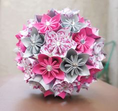 Diva diy more paper flowers crafts pinterest origami custom wedding kusudama origami paper flower package bouquets bridesmaid bouquet pink silver mightylinksfo