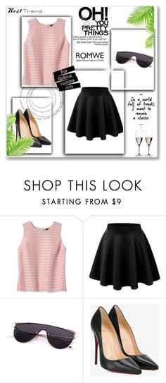 """""""Romwe contest"""" by fruty-fru ❤ liked on Polyvore featuring Banana Republic, Christian Louboutin and Riedel"""